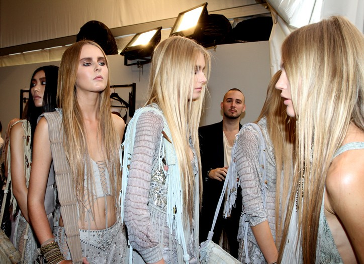 Backstage at Roberto Cavalli's spring 2011 show.
