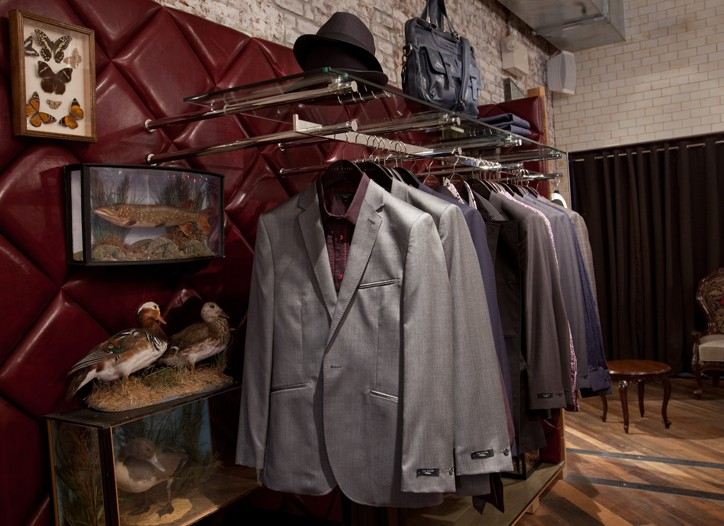 Men's wear and taxidermy in the Meatpacking District store.