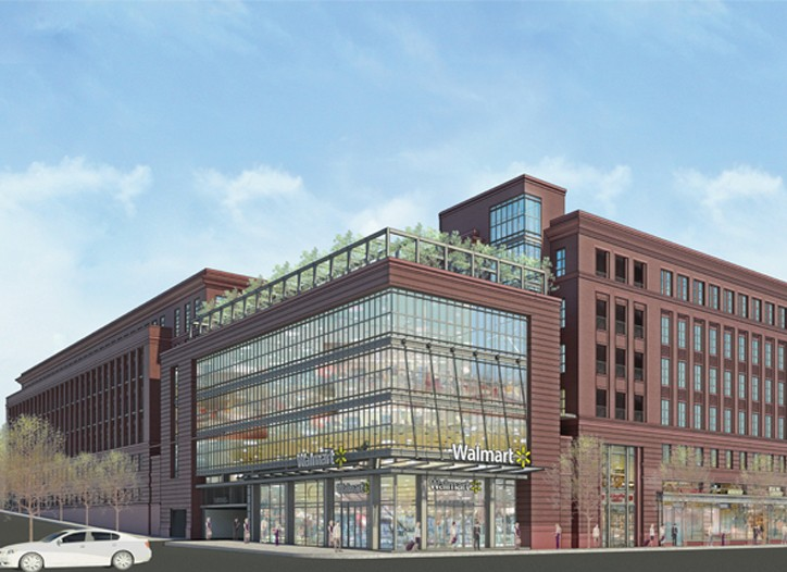 A rendering of a smaller-format, urban Wal-Mart.