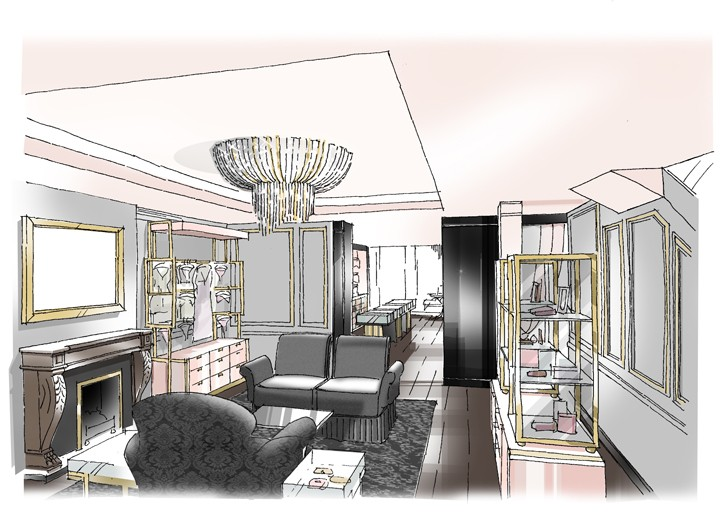A sketch of the Madison Avenue interior.