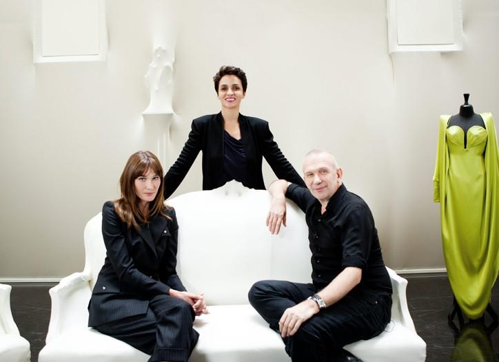 Carla Bruni-Sarkozy, Farida Khelfa and Jean Paul Gaultier.
