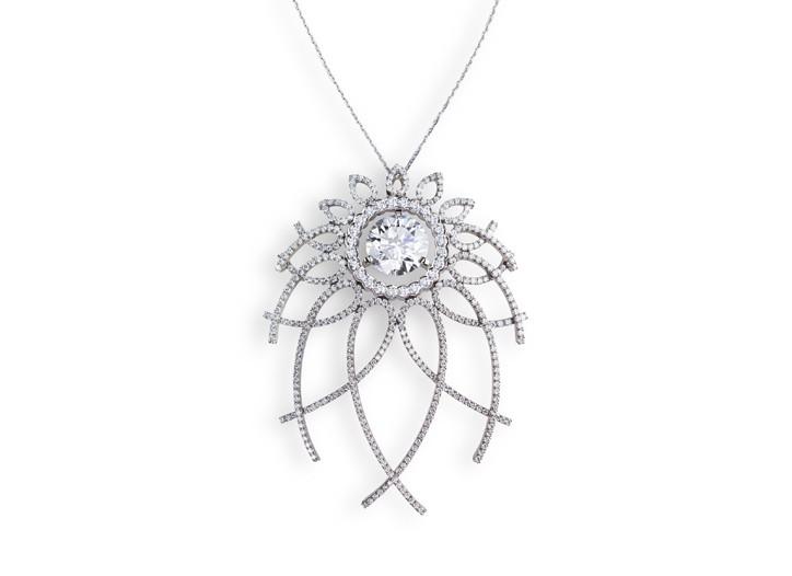 A Fabergé 7.42-carat diamond and white gold Trelliage pendant necklace