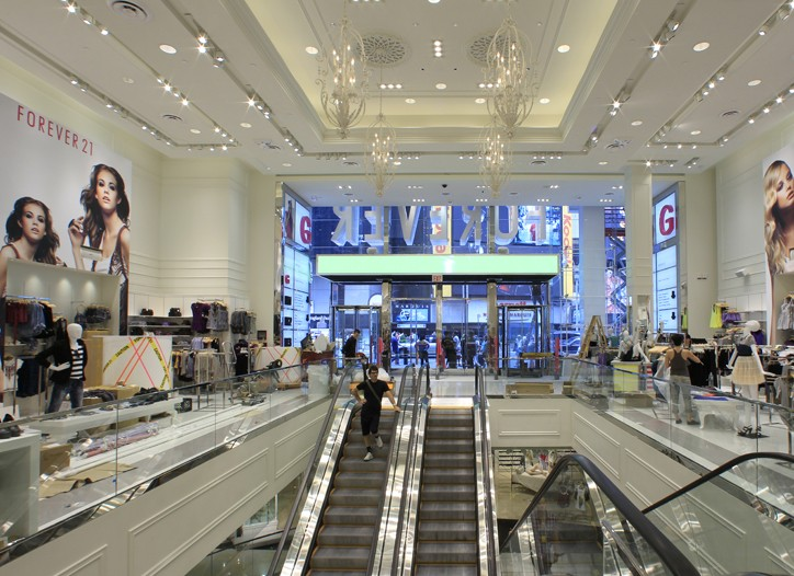 Inside Forever 21 in Times Square