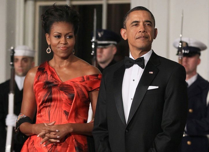 First Lady Michelle Obama in Alexander McQueen with President Barack Obama