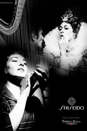 A Shiseido ad featuring images from La Scala's archives.