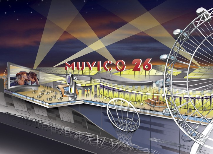 An illustrated aerial view of Muvico Theaters Inc.'s new Muvico Xanadu 26 theater to be built at the Meadowlands Xanadu.