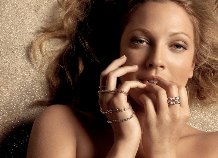 Drew Barrymore in the 2007 jewelry campaign.