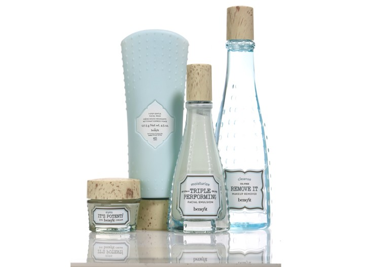 Products from Benefit's skin care line.