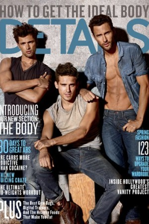 The March 2011 cover of Details features models for the first time.