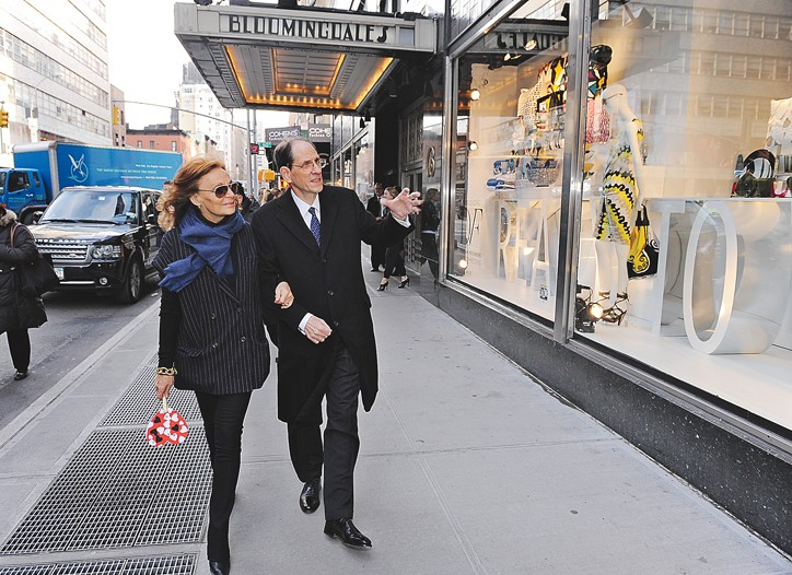 Diane von Furstenberg and Michael Gould outside Bloomingdale's.
