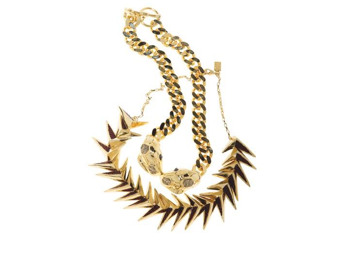 Kara by Kara Ross' 14-karat gold-plated metal, python and lizard-skin necklaces.