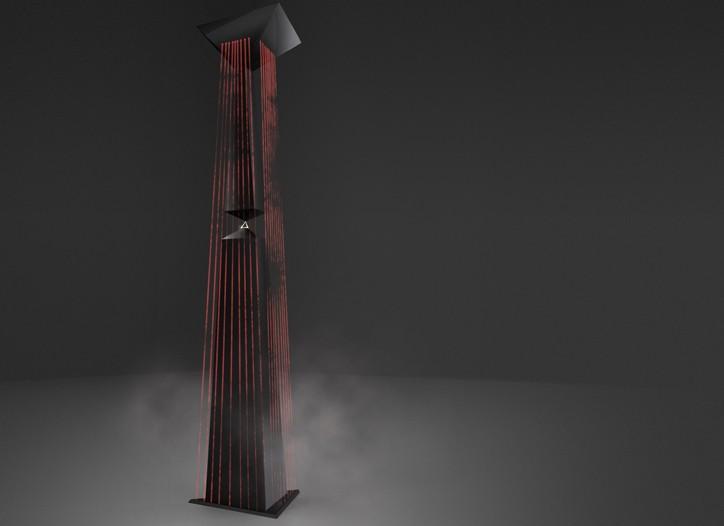 A rendering of Moritz Waldemeyer's obelisk installation.