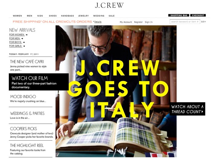 """J. Crew is showing its love for Italian men's fabrics in a new video """"Made in Italy,"""" on its Web site."""
