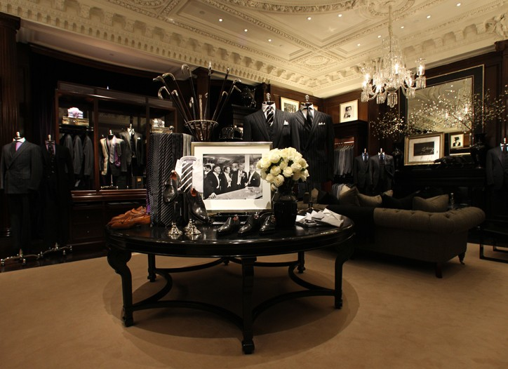 Inside Ralph Lauren men's store in the Rhinelander Mansion.
