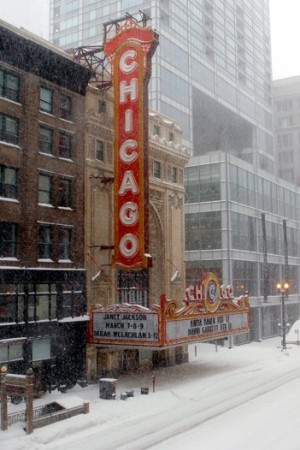 Snow overtakes State Street in Chicago.