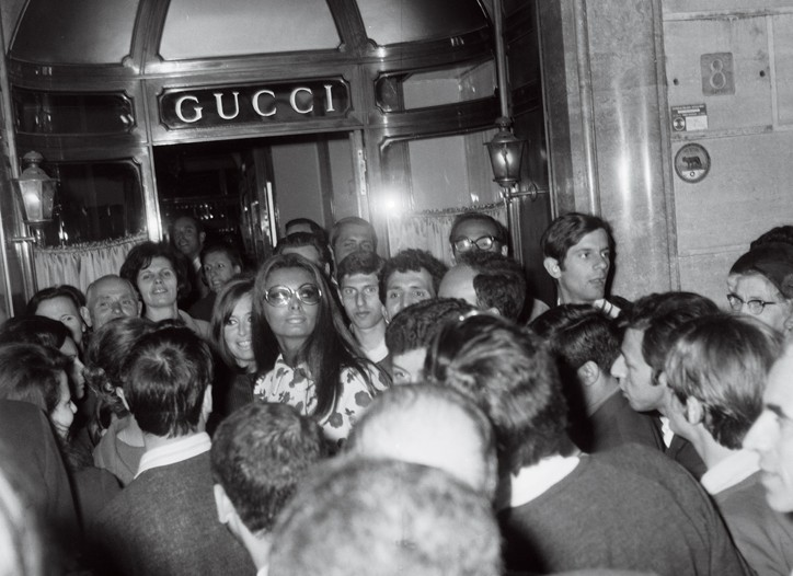Sophia Loren at Gucci's Rome store in the Seventies.