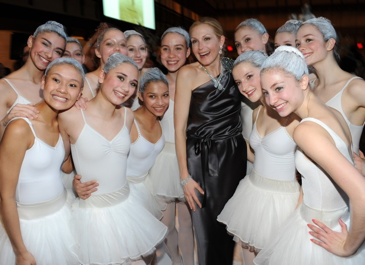 Kelly Rutherford in Robin Brouillette with The School of American Ballet dancers.