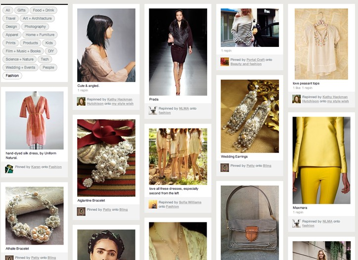 The Pinterest homepage mixes together posts from all its users.
