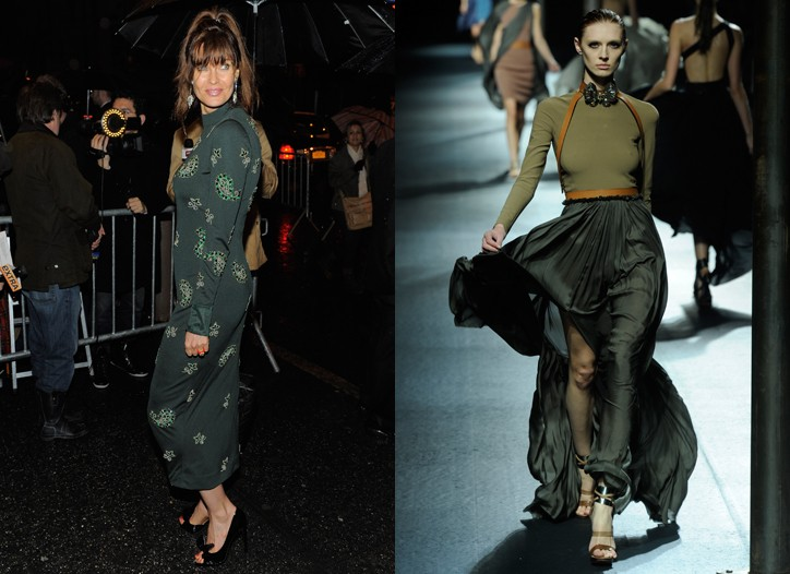 FLOP: Carol Alt is more Christmas tree (ornaments and all) than clothes hanger in this body-hugging dress. FIX: Lanvin's stunner is flowy, flattering and in the most chic shades of green.