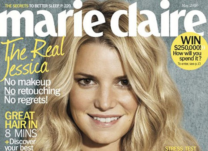 Marie Claire cover featuring Jessica Simpson.