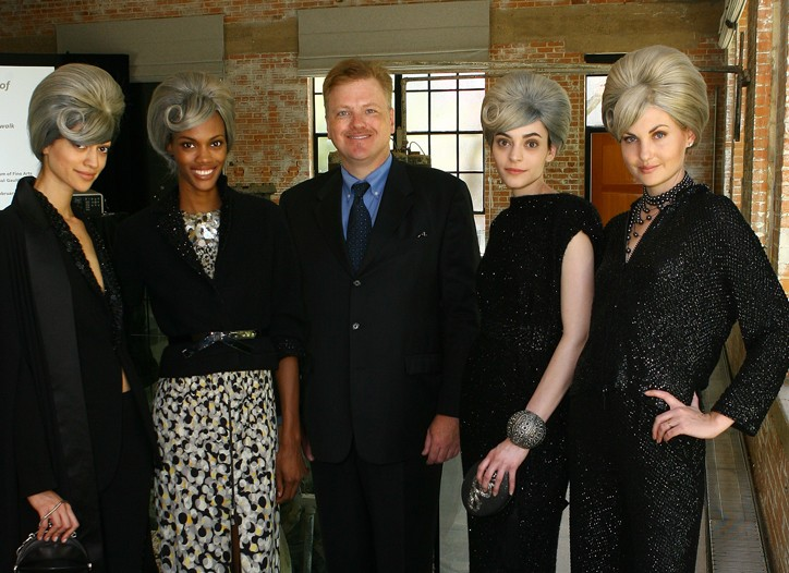 DMA curator Kevin Tucker with models in fall 2011 Jean Paul Gaultier.