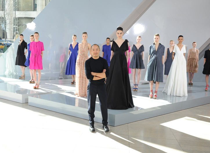 Lam and the 16 dresses at the presentation at fashion week.