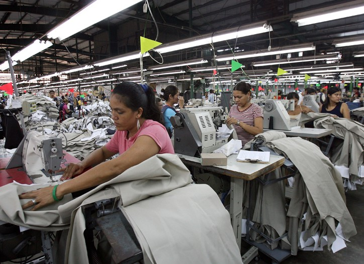 Nicaraguan workers make pants at the Gatornica factory.