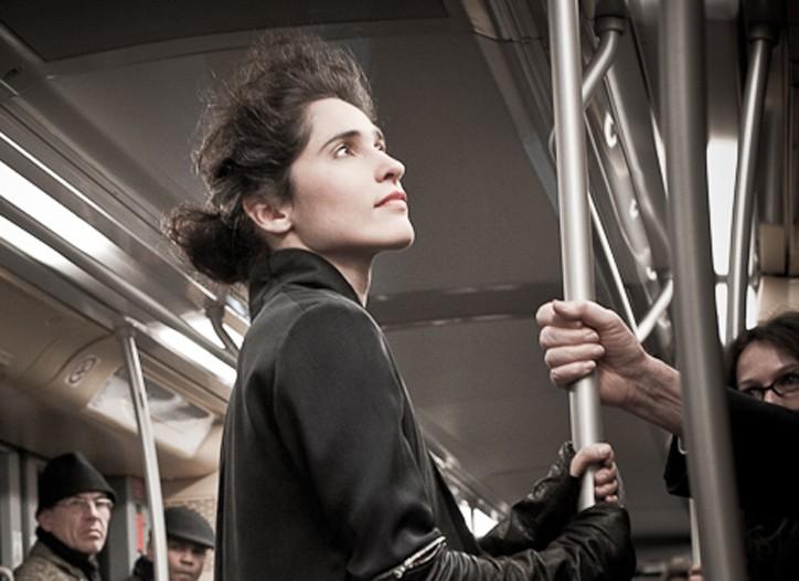 Alessandra Marchi fashion show in subway.