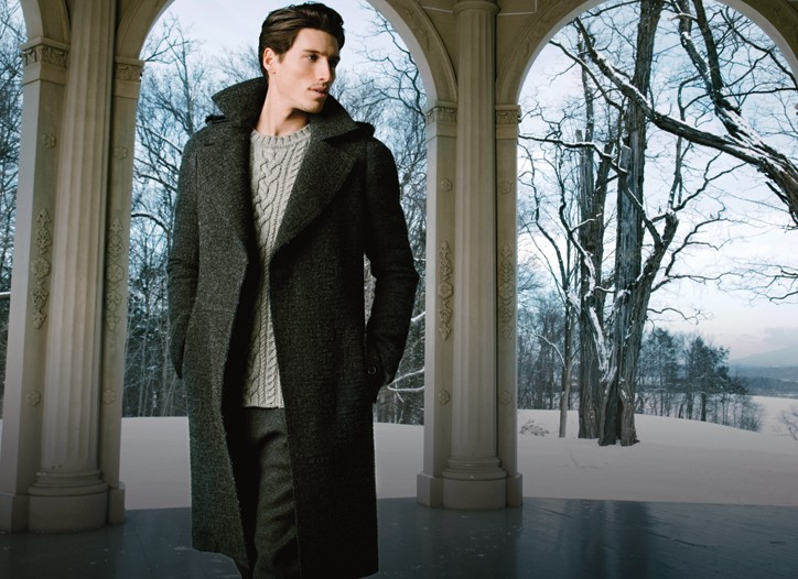 Lanvin's wool coat, Pringle of Scotland's wool sweater and Marni's wool pants.