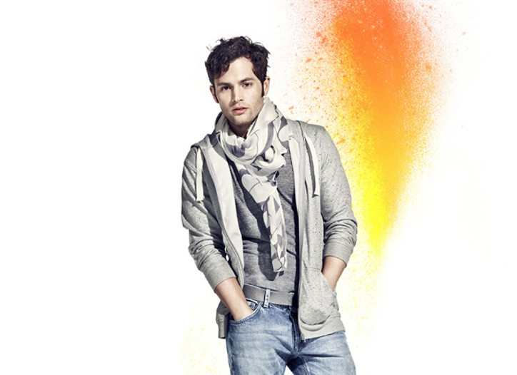Penn Badgley models H&M's Fashion Against AIDS collection.