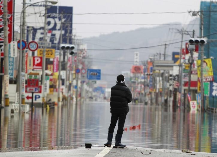 A flooded street in Ishinomaki, Miyagi Prefecture, Japan.