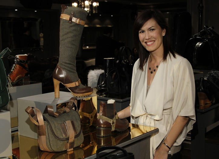 Ugg Australia vice president of product Leah Larson, with a sampling from the Ugg Collection fall line.