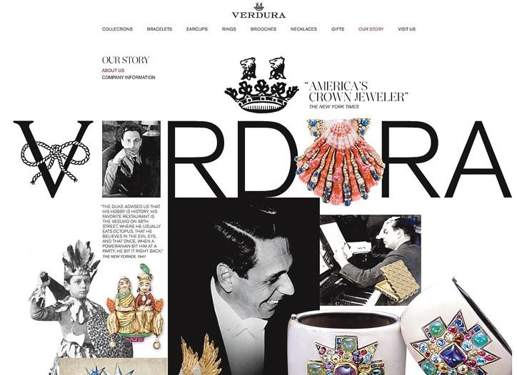 A screen shot from Verdura's new Web site.