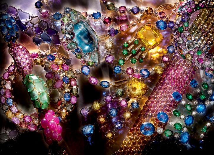 Top row, left to right: Seaman Schepps bracelet, Tamsen Z necklace, Dior Fine Jewelry ring, Bulgari 18k necklace; Lorraine Schwartz  bangle, and Paolo Costagli bracelet.  Bottom row, left to right: All Bulgari necklaces.