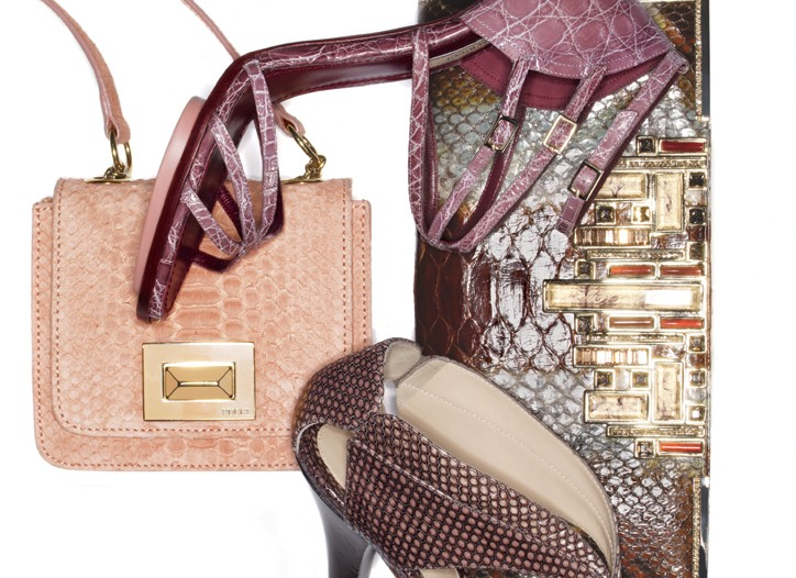 Emilio Pucci python bag, Nina Ricci crocodile strappy sandal, Judith Leiber python bag, and Fendi leather sandal.