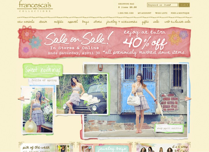 The Francesca's Collections' website.