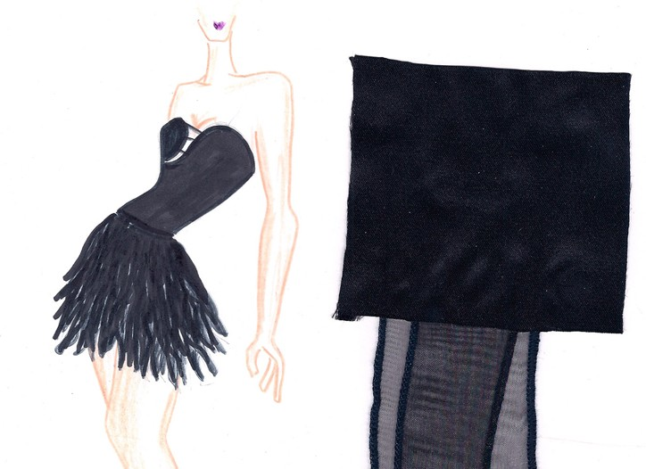 A sketch of one of Johnny Weir's little black dresses.