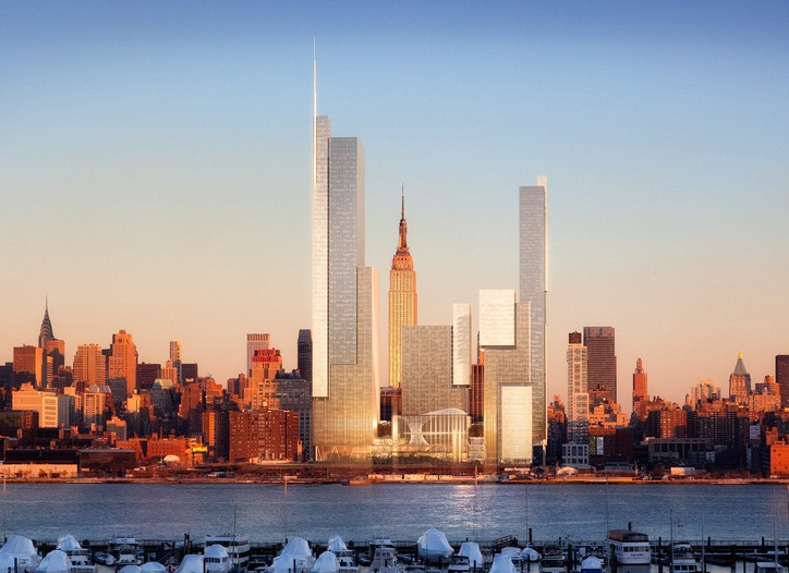 A rendering of the first phase of Hudson Yards, on the east side of 11th Avenue.