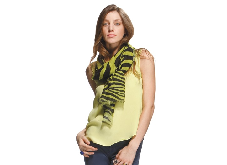 Anlo's silk tank top with J Brand's cotton and Lycra ombré denim jeggings. Jimmy Choo scarf and sandals; Circa Sixty Three rings.
