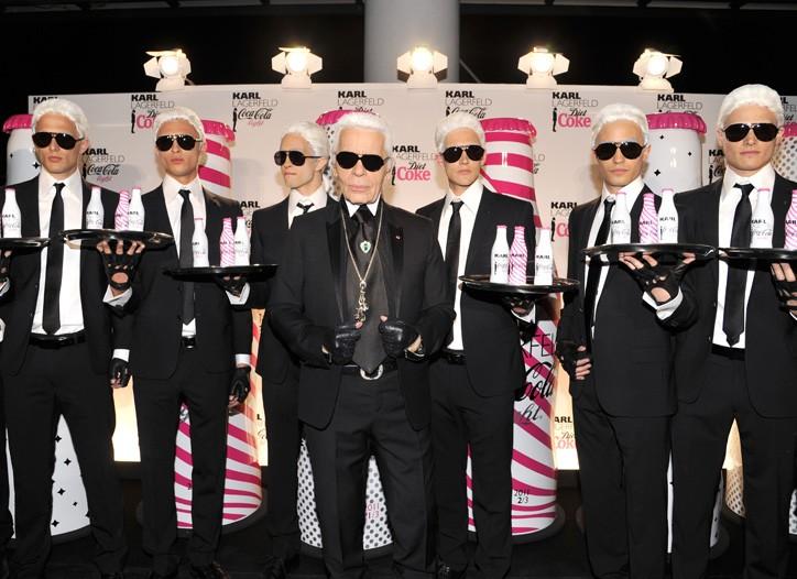 Karl Lagerfeld with his dopplegangers.