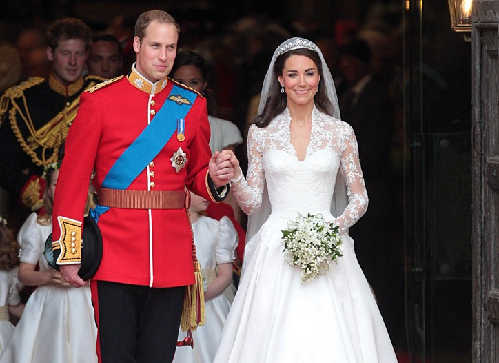 Prince William and his wife Catherine, Duchess of Cambridge emerge from Westminster Abbey after the wedding ceremony.