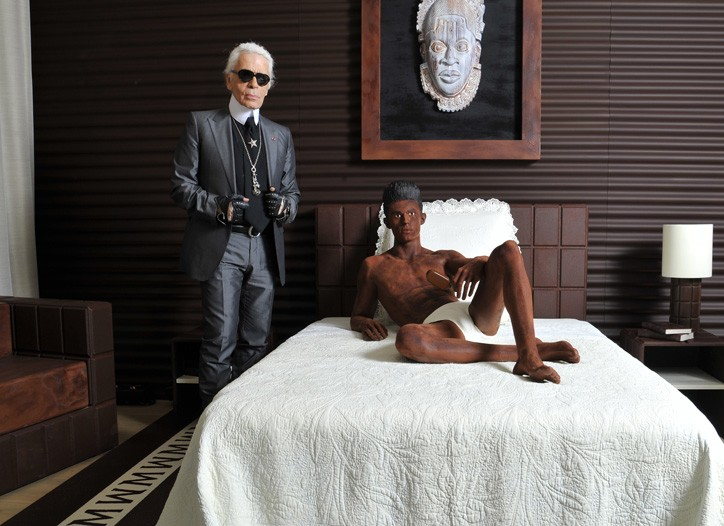 Karl Lagerfeld in the chocolate hotel suite.