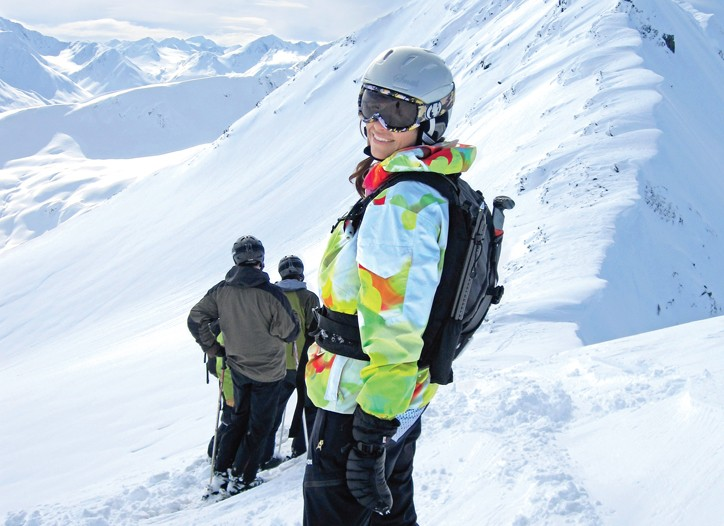 Wende Zomnir Heli-boarding in Alaska's Chugach Mountains.