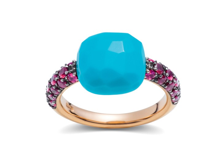 Pomellato 18-karat rose gold band with turquoise and ruby ring