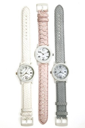 Sprout watch bands made from salmon and carp skins.