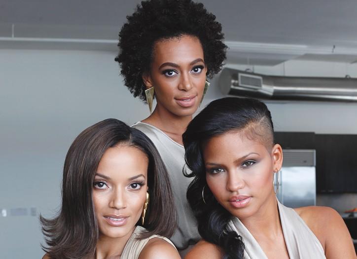 Selita Ebanks, Solange Knowles and Cassie