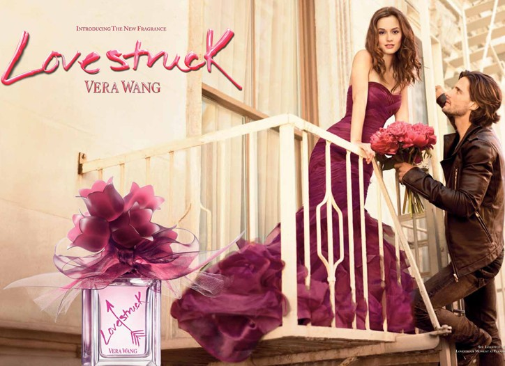 An ad for Vera Wang Lovestruck with Leighton Meester.