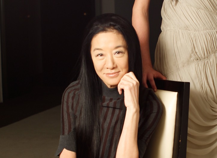 Vera Wang with a model in a hand-ruched, crinkle chiffon dress from Lavender.