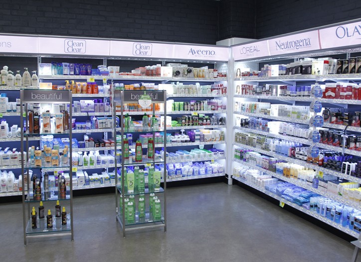 The skin care offering inside Walgreens' Astor Place store.