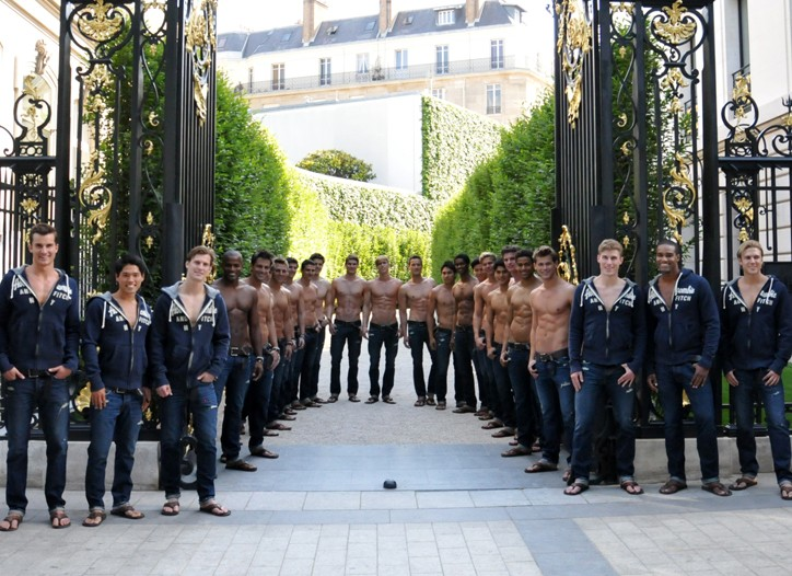 Models outside of Abercrombie & Fitch's new store on the Champs-Elysées.
